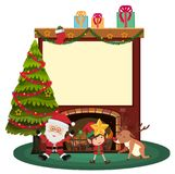 Border template with santa and elf by the fireplace. Illustration Royalty Free Stock Photography