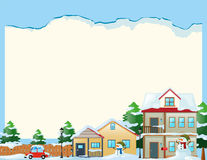 Border template with snow in the village Stock Image