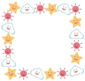Border template with star and sun Royalty Free Stock Photo
