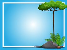 Border template with tree and rock. Illustration Stock Photos