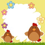 Border template with two chickens Royalty Free Stock Photography