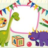 Border template with two dinosaurs. Illustration Royalty Free Stock Images