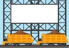 Border template with two lorry trucks. Illustration Stock Photography