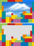 Border templates with colorful blocks stock illustration