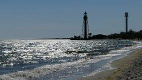 Border tower on Dzharylhach island on the Black Sea coast at sunset