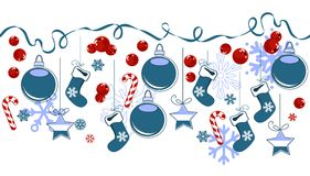 Border with traditional Christmas symbols. Horizontal border with traditional Christmas symbols vector illustration