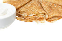 Border from traditional russian crepes Stock Photo