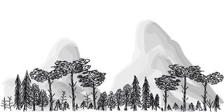 Border from trees and mountains on a transparent background. Seamless border from trees and mountains on a transparent background vector illustration