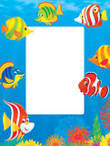 Border of tropical fishes Royalty Free Stock Photo