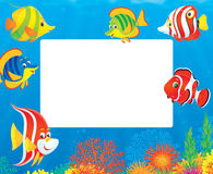 Border of tropical fishes Royalty Free Stock Images