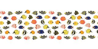 Border tropical reef fish seamless vector tile. Colorful fishes decor. Butterflyfish, Clown Triggerfish, Anemonefish, Angelfish,. Clownfish. Drawing marine vector illustration