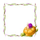 Border with turtle and snail Royalty Free Stock Images