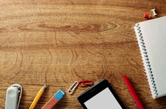 Border of various office supplies and stationery Stock Photography