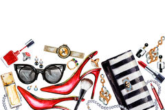 Border of various watercolor female accessories. Makeup products Stock Photo