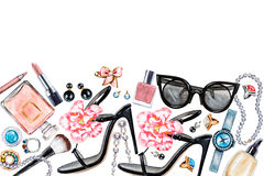 Border of various watercolor female accessories. Makeup products Stock Photography