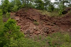 Border between Variscan orogeny and perm and trias sediments stock photography