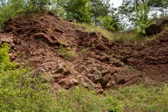 Border between Variscan orogeny and perm and trias sediments royalty free stock images