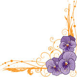Border with  violet pansies. Vector floral  border with violet pansies  (EPS 10 Stock Photo