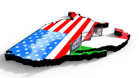 Border Wall Beween America and Mexico 3d Illustration Stock Image