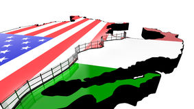 Border Wall Beween America and Mexico 3d Illustration Stock Photography