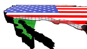 Border Wall Beween America and Mexico 3d Illustration. On a white background Stock Photos