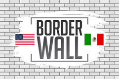 Border wall concept vector illustration with the United States and Mexico flags Stock Photo