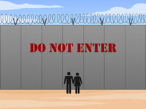 Border wall between United States and Mexico with do not enter sign in English vector illustration Royalty Free Stock Photography