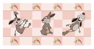 Border for wallpaper with rabbits  cartoon Royalty Free Stock Photos