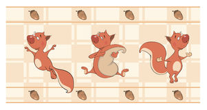 Border for wallpaper with squirrels  cartoon Stock Images