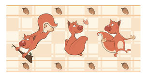 Border for wallpaper with squirrels Stock Photos