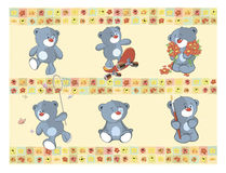 Border for wallpaper with stuffed bear cubs Stock Image