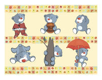 Border for wallpaper with stuffed bear cubs Stock Photos