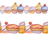 Border of watercolor vector cupcakes Stock Photos