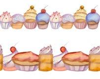Border of watercolor vector cupcakes Stock Photos