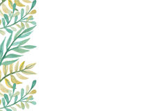 Border With Watercolor Yellow And Green Leaves Stock Photos