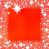 Border from white snowflakes on a red background Stock Photography