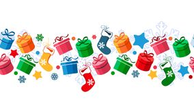 Border With Christmas Gift Boxes Stock Photo