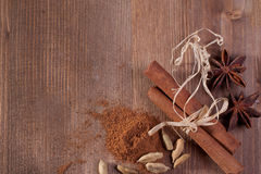 Border With Cinnamon, Anise, Cardamom Royalty Free Stock Photo