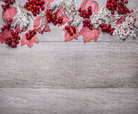 Border With Red Maple Leaves, Viburnum Berries And Autumn Scenery On Grey Wooden Rustic Background Top View Close Up With Text Are Stock Photo