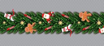Free Border With Santa Claus, Christmas Tree Branches, Golden Stars Royalty Free Stock Photography - 133835547