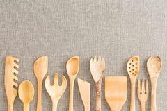 Border of wooden kitchen necessities Stock Photo