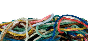 Border of Wool. Isolation of coloured wool. Suitable for use as a border royalty free stock images