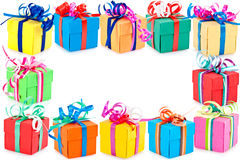 Border of wrapped presents royalty free stock photography