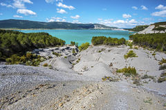 Border of Yesa lake in Spain Stock Images