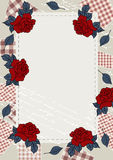 Bordered background in country and western style. Bordered Background with patch and roses. Style country and western. Vertical A4 Stock Image