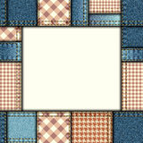 Bordered background of denim fabric texture. In patchwork style Royalty Free Stock Images