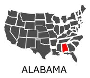 State of Alabama on map of USA Royalty Free Stock Photos