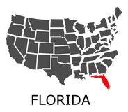 State of Florida on map of USA Stock Images