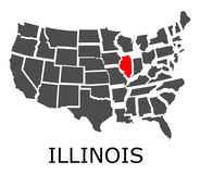 State of Illinois on map of USA Royalty Free Stock Image