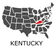 State of Kentucky on map of USA Royalty Free Stock Photo